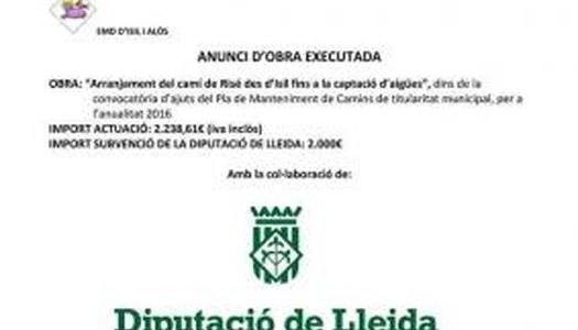 ANUNCI OBRA EXECUTADA ARRANJAMENT DE LA PISTA DE RISÉ