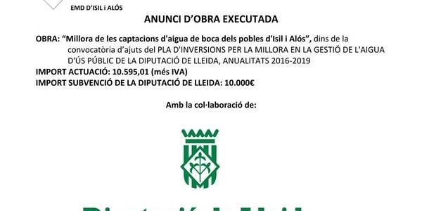 MILLORA DE LES CAPTACIONS D'AIGUA DE BOCA